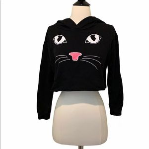 Chocolate Black Kitty Cropped Hoodie Size M
